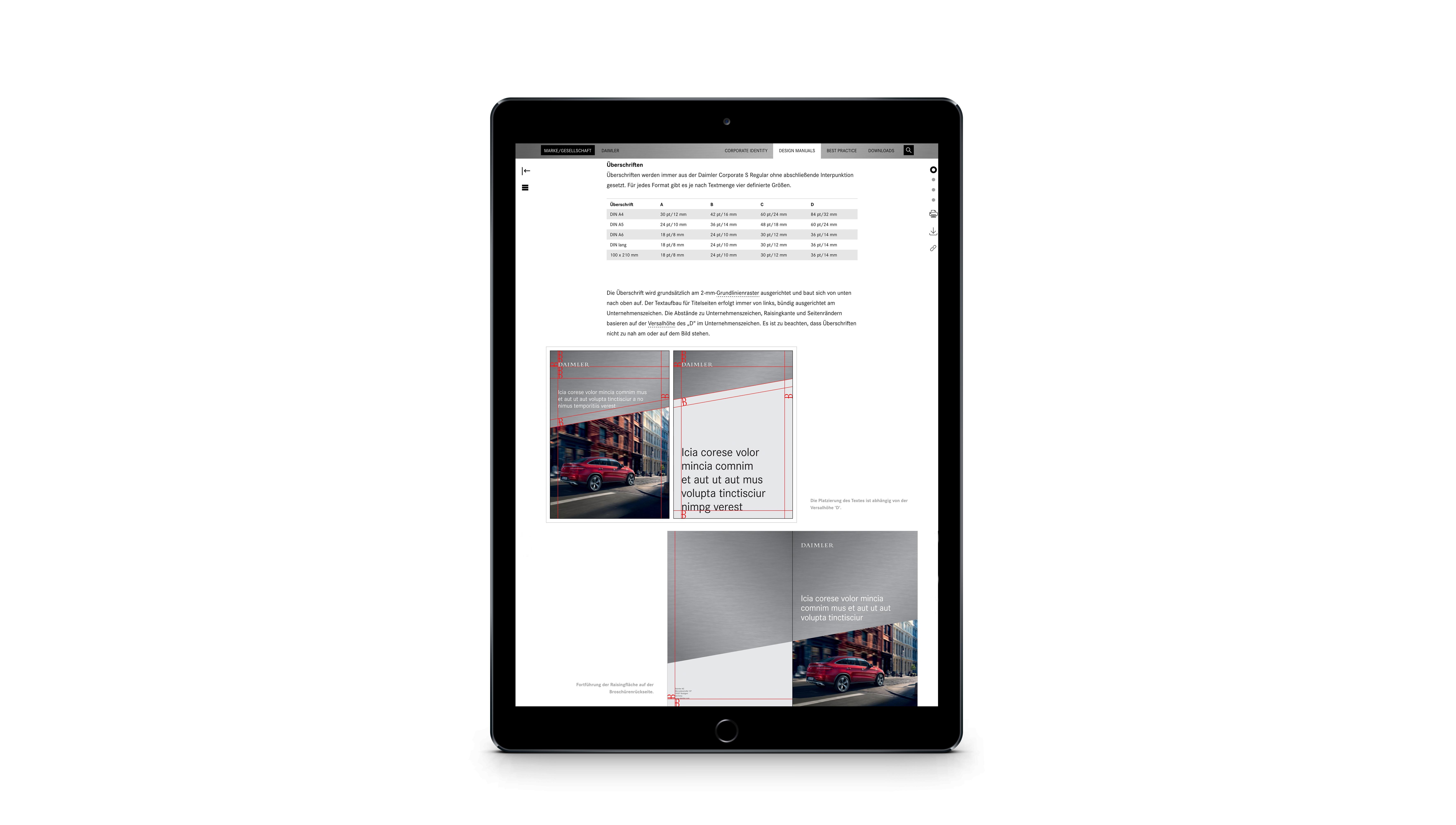 Daimler Corporate Design Webdesign Responsive