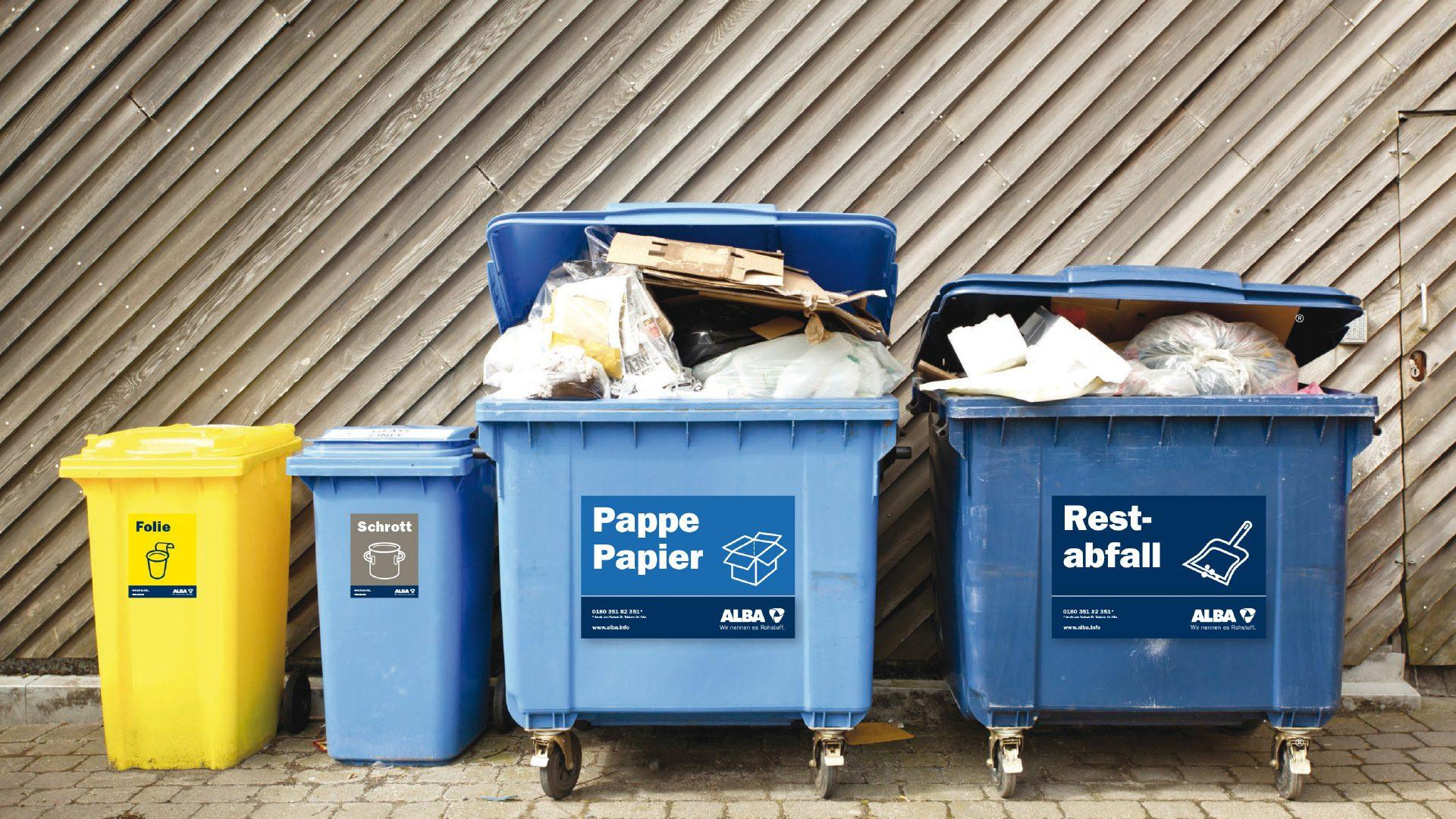 Alba Corporate Design Mülltonnen: Papier, Restabfall, Schrott, Folie