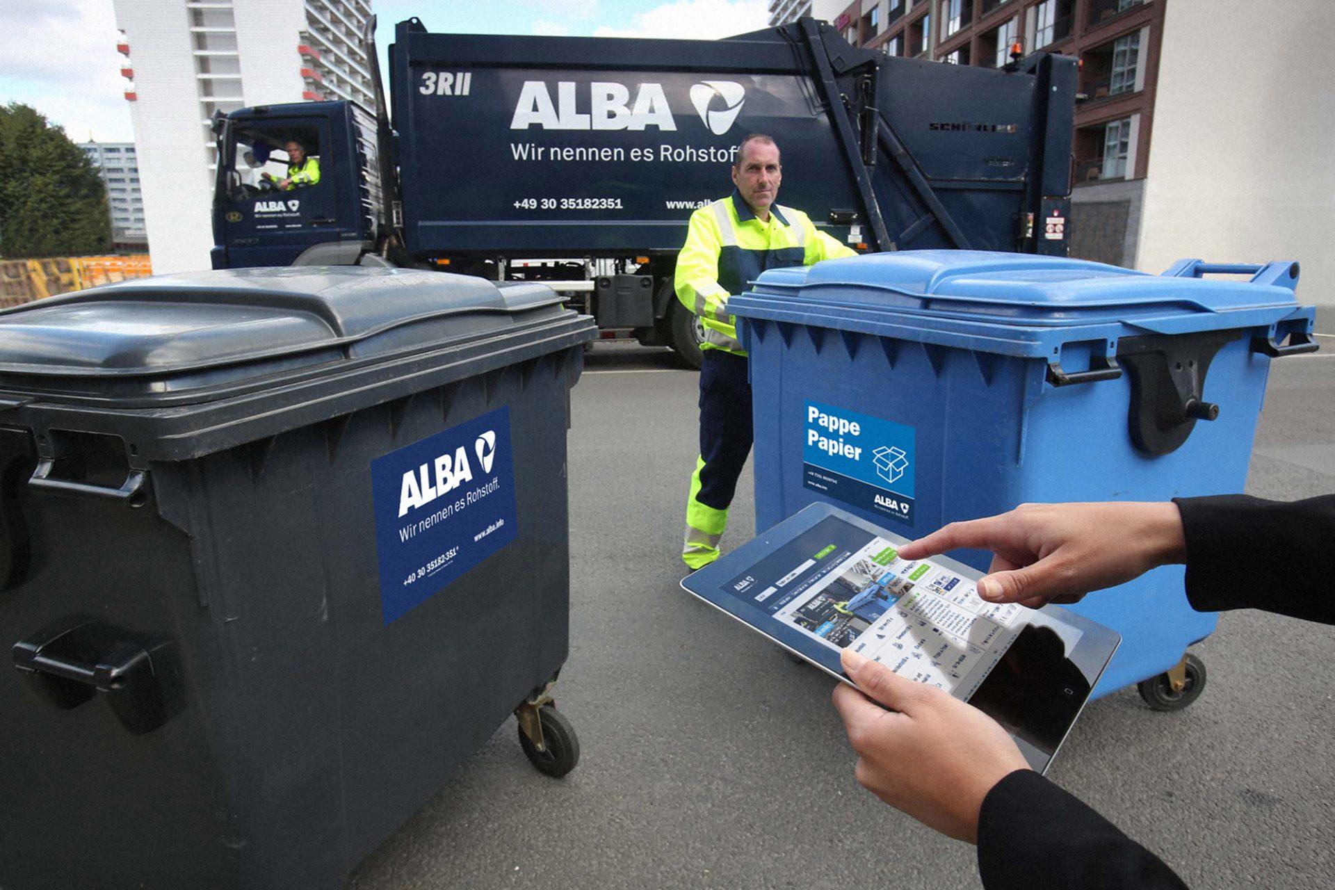 Entsorgung von Müll: Die Marke ALBA auf der Straße und auf dem iPad. Corporate Design von Realgestalt