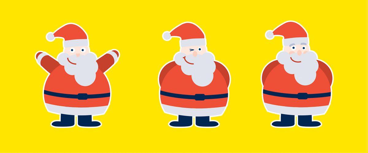 Illustrationen von Weihnachtsmännern für myToys. Brand Design von Realgestalt