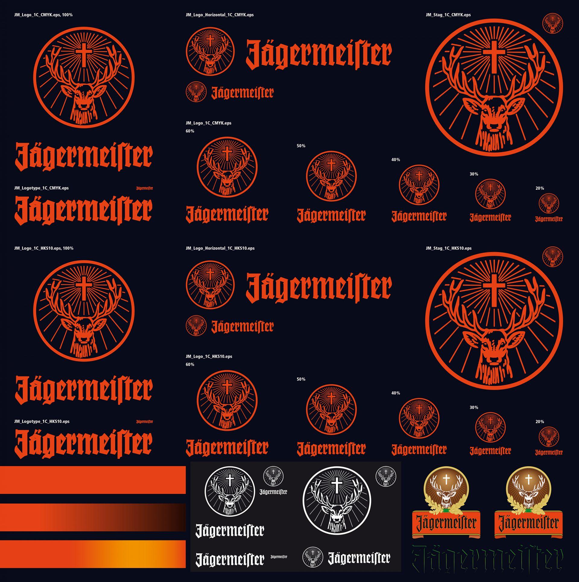 Eine Übersicht des neuen Brand Design von Jägermeister: Logos, Wortmarken, Bildmarken, Farben