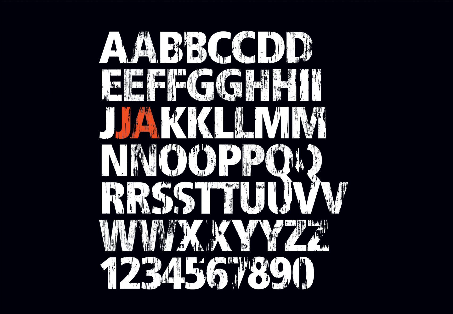 Alle Buchstaben der neuen Typographie für Jägermeister. Brand Design von Realgestalt