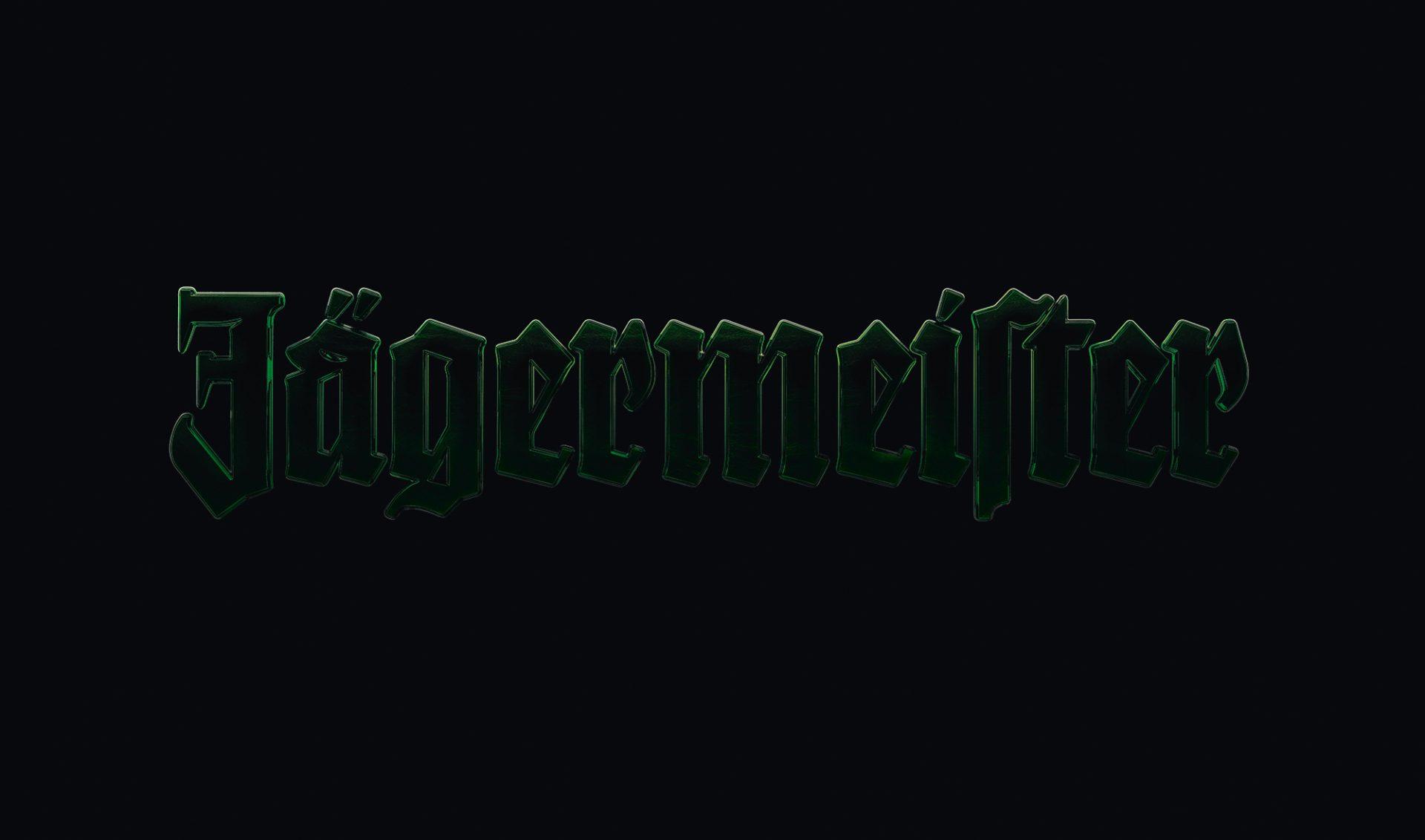 Wortmarke von Jägermeister in grün gegen einen schwarzen Hintergrund entwickelt von der Agentur Realgestalt als Teils des neuen Brand Designs