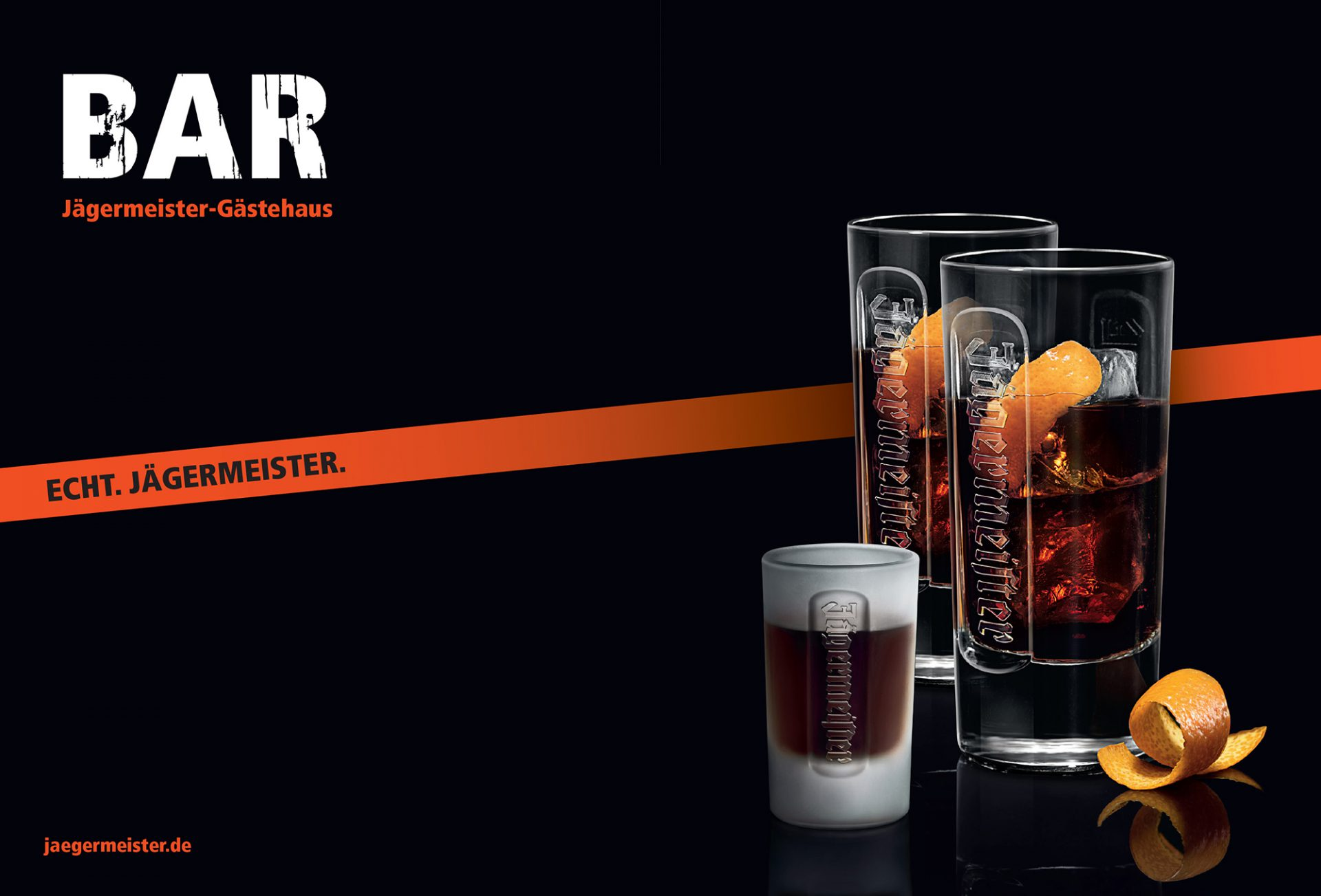Jägermeister als Mixed Drink, zum Beispiel mit Cola und Orange. Brand Design von Realgestalt