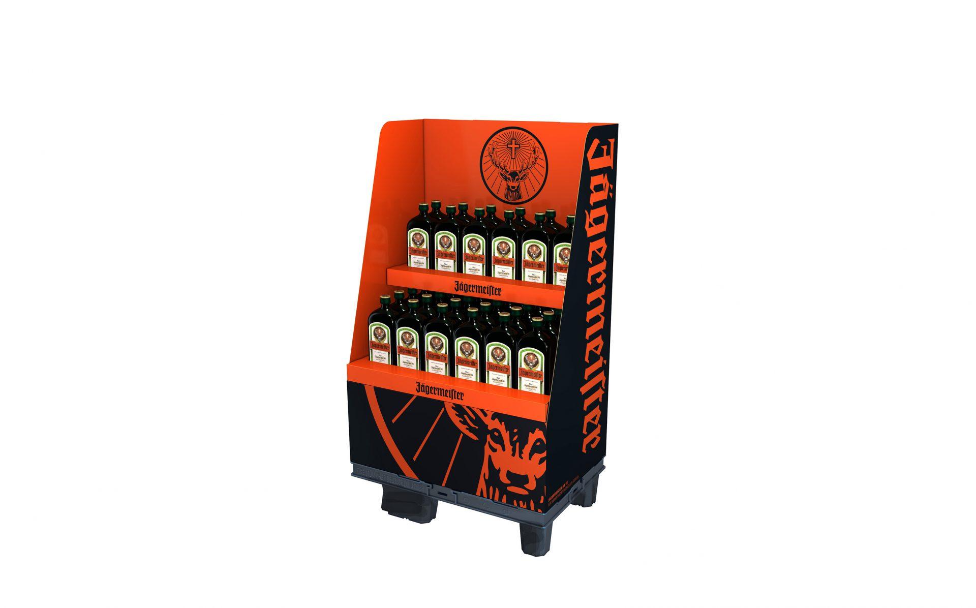 POS-Display für Jägermeister für den Verkauf in Supermärkten. Brand Design von Realgestalt
