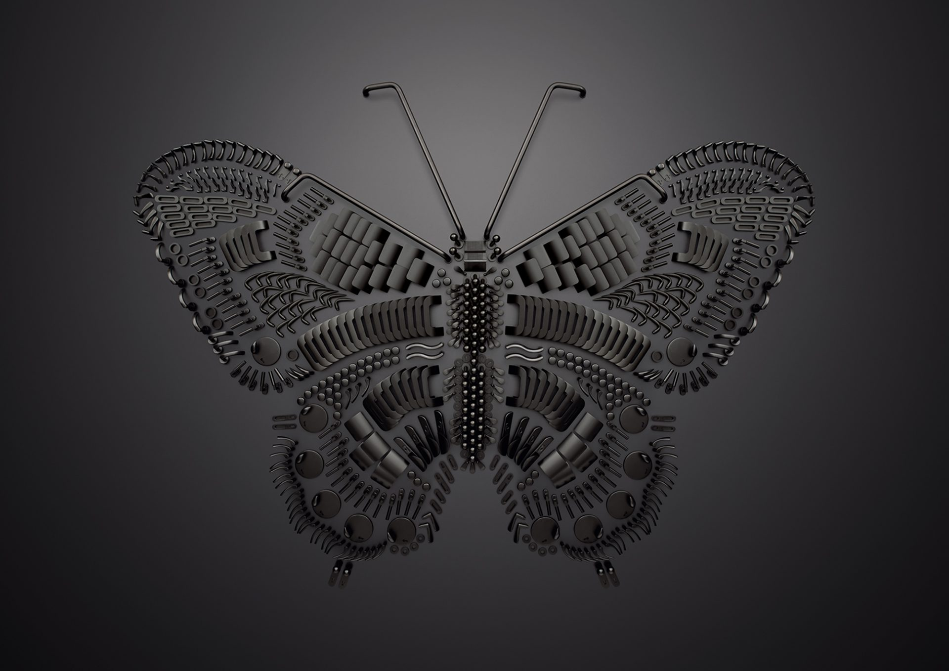 Aufnahme einer Komposition aus Beschlägen von Sarah Illenberger. Das Motiv: Ein Schmetterling.