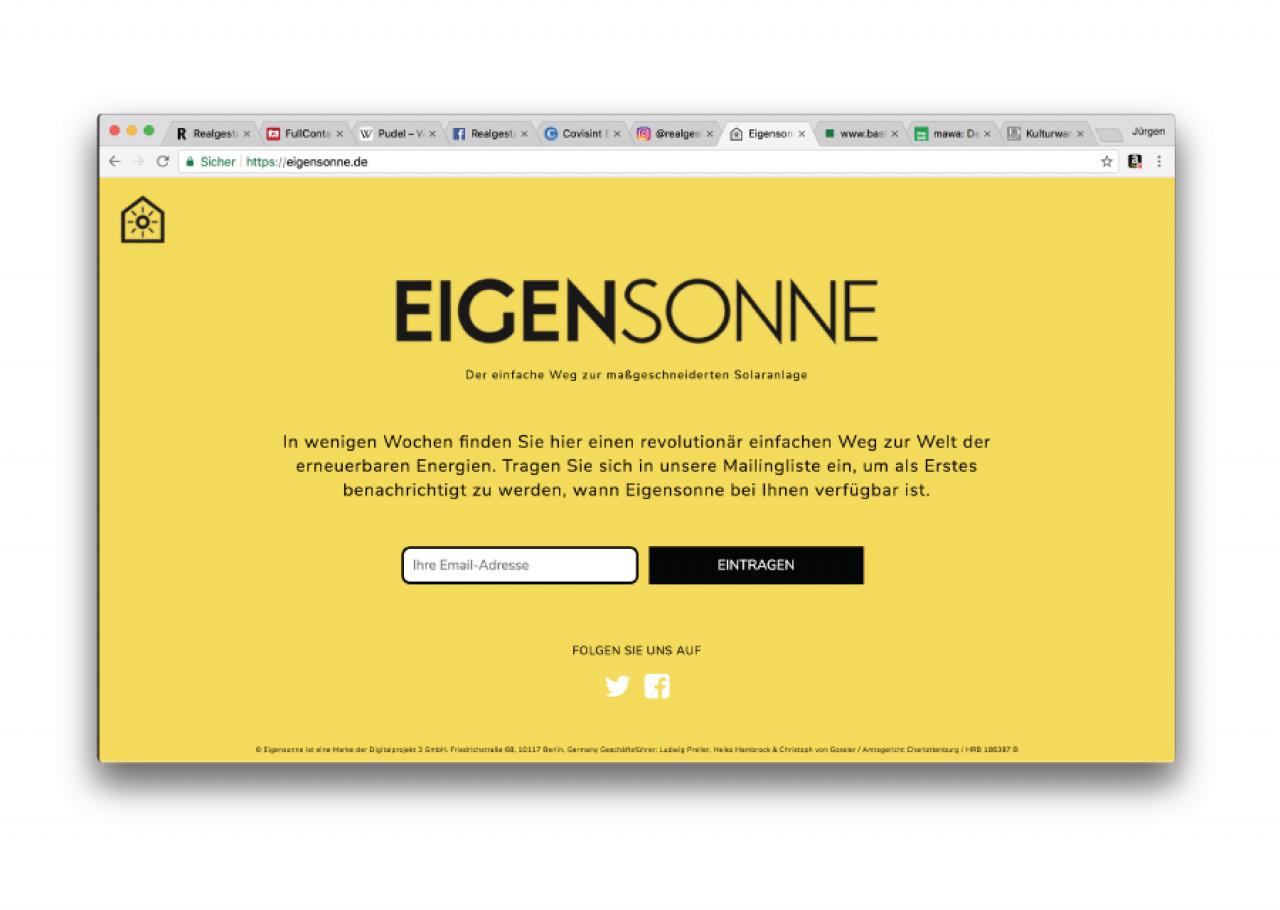 Eigensonne Website Startseite