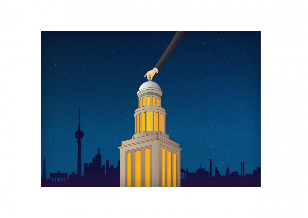 Turm, illustriert, Nachtstimmung